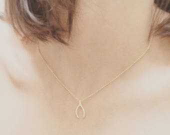 Gold Plated Mini Wishbone Necklace