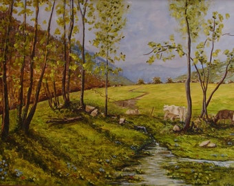 Oil painting. Landscape farm with cows grazing free. Work original and unique of the Valley of Camprodon, Catalonia. Spain. Living nature.