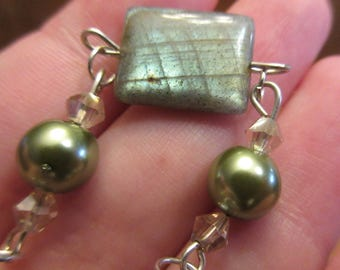 Rectangle Labradorite with Green Sheen Wire Bracelet with Green, Silver and Brown Accents