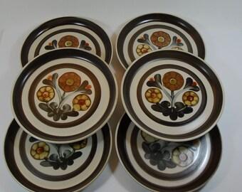 "6 Langley 1960's Mayflower 6 1/2"" Side Plates, Langley Side Plates, Hand Painted Plates, 1960's Flower Power Plates,Denby Langley Side Plate"
