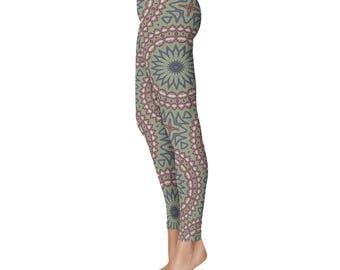 Workout Yoga Pants - Yoga Art Leggings, Green, Blue and Burgundy Womens Exercise Leggings, Patterned Leggings
