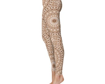 Brown Leggings - Stretchy Yoga Pants, Fashion Leggings, Brown and White Mandala Pattern Printed Tights