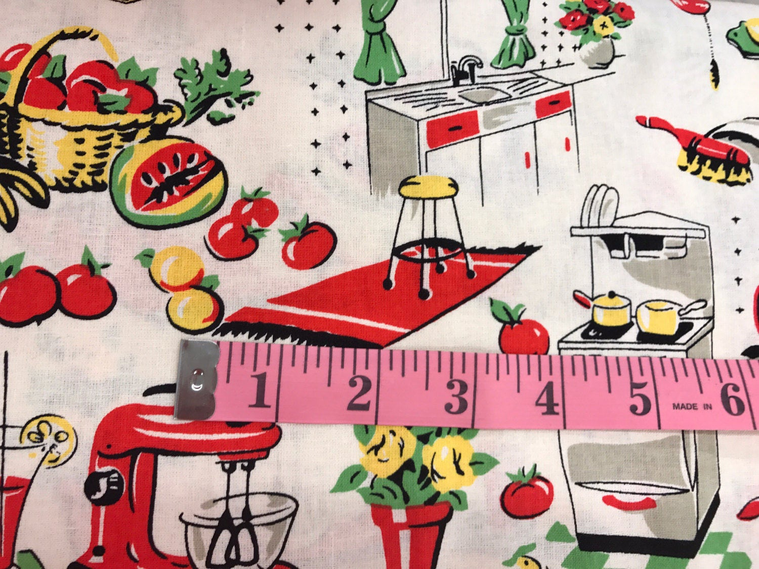 vintage retro style 1950's kitchen fabric lady fabric