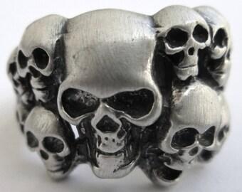 Skulls Biker Rocker Ring STERLING SILVER