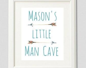 Little Man Cave Print, Custom Baby Name, Nursery Wall Art, Boys Print, Boys Art, Nursery Printable, Boy Wall Decor, Boy's Nursery Print