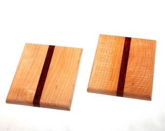 Rectangle Wooden Coasters featuring Brown Maple & Padauk Wood