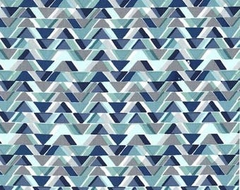 Blue All Angles Quilt Fabric, Cotton Sewing Fabric - Sassy Cats Fabric Line by Michael Miller Collection in Geometric
