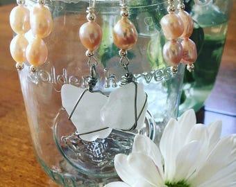 Genuine Florida Keys Sea Glass and Fresh Water Pearl Earrings