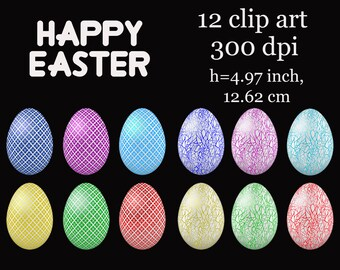 Easter egg, Happy easter, clipart easter pack Digital scrapbooking elements  Personal and Commercial Use