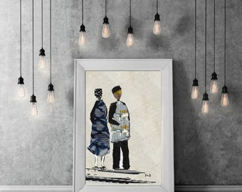 drawing characters, wall decor, home decor, office, living room, girlfriend gift decoration, Scandinavian poster, poster