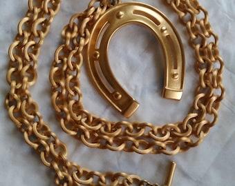 Anne Klein horseshoe gold tone necklace, Anne Klein jewellery, horseshoe necklace