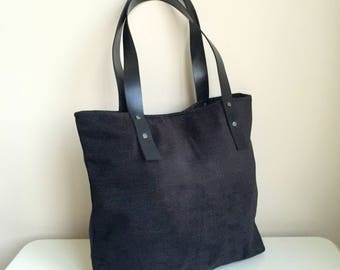 Black Woven Tote Bag,Leather Tote Bag,Shopping Tote Bag,Black Tote Bag,Black Woven Handbag,Genuine Leather Strap Tote,Woven Tote Bag
