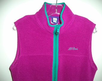 SALE Vintage LL Bean fleece vest// 80's magenta turquoise ski outerwear athletic sleeveless jacket// Women's XS and S
