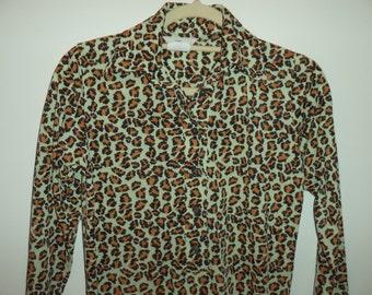 70's leopard print lounge dress// Punk rockabilly animal print// Vintage Avant Garde, New York City// Women's size small XS 0 2 3 4 USA