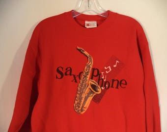80s Saxophone player sweatshirt// Red jazz sax horn musician graphic pullover// Vintage Bassett Walker Sturdy Sweats USA// Medium 40 M