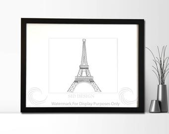 Eiffel Tower  Sketch, Picture, Framed Picture, Digital Art