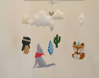 Tribal theme baby mobile- fox, Indian girl, coyote, cactus, arrow and feather