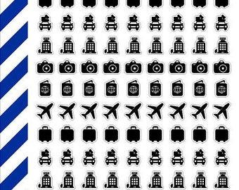 Transparent Travel Icons, Premium Matte Vinyl, Planner Sticker, Removable, Repositionable, For ECLP & Other Planners, Vinyl Sticker
