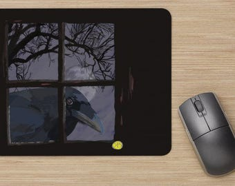 Mouse pad, the raven in the window, raven, looking raven, image of raven, drawing of raven, painting of a raven in a window,