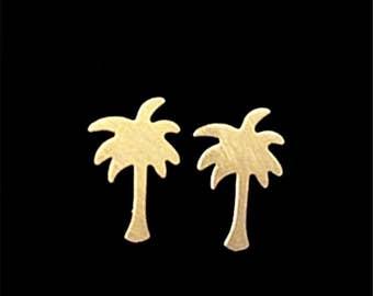 Tiny Palm Tree Earrings - Gold