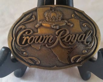 Crown royal belt buckle/brass belt buckle/whiskey memorbilla/vintage belt buckle/vintage brass buckle