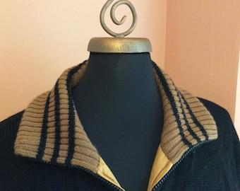 Vintage 60s, Reversible Jacket, Sweater Coat, Varsity Sweater, Black, Brown (A812)