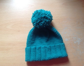 Teal baby hat 0-6 months