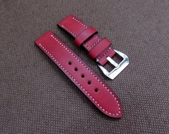 Difues Leather custom red watch band Panerai Style. Width 24/24 mm.