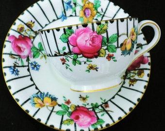 Aynsley art deco elegant antique pink rose tea cup and saucer black stripes