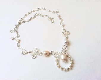 Sterling Silver And Freshwater Pearls Chain Necklace, Bridal Jewelry, Bridal Necklace, Silver Filigree Necklace.