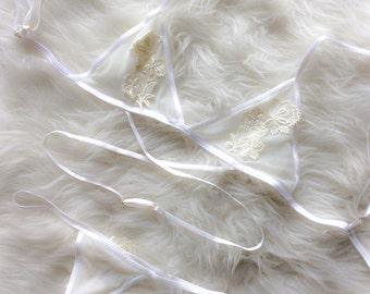 Sheer white mesh bra , non-wire angelica Bralette
