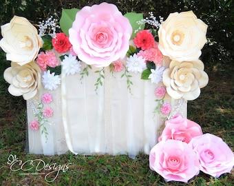 Paper Flower Rose Backdrop, DIY Paper Flower Patterns and Tutorials, Paper Rose Templates, Wedding Flower Wall, Wedding Decor