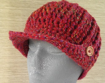Hat in crochet with wooden buttons - Crocheted red hat with visor with wooden buttons - Handmade hats-Wool beanies-Knitted hats -