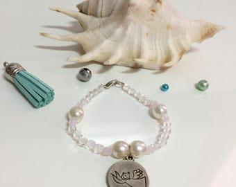 Pulsera de comunión, pulsera ángel de la guarda, pulsera blanca de comunión, pulsera perlas, pulsera medalla ángel de la guarda, regalo