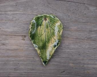 Ceramic necklace bohemian necklace ceramic pendant ethnic ceramic necklace leaf pendant leaf necklace natural pendant nettle leaf pendant