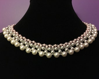 Pink and Silver Pearl Necklace