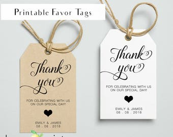 Printable favor tags, printable personal favor tag, wedding favor tags, thank you gift tags, printable tags for wedding, wedding favor tags