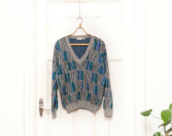 Vintage 80s 90s V Neck Pullover Knitted Abstract Print Grey Sweater Mens Small Jumper Gray Womens Medium Sweatshirt Patterned Hipster Dad M