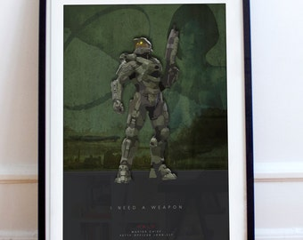 Master Chief Inspired fan art - Unique video game poster illustration. fan art, Halo, Spartan