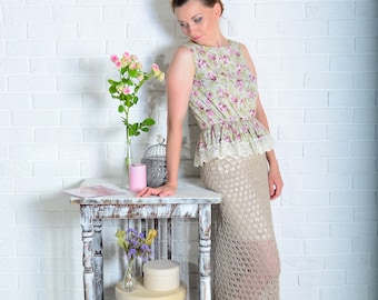 """Image """"Dried flowers"""": pointelle knit skirt and cotton top with lace"""