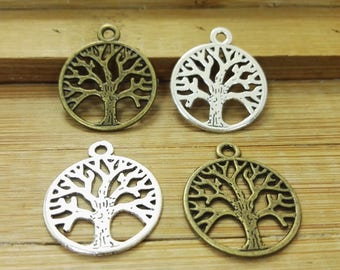 50 Pcs Double Sided Exclusive Tree of Life  Charms,  Tree of Life  Pendants, findings 18 mm