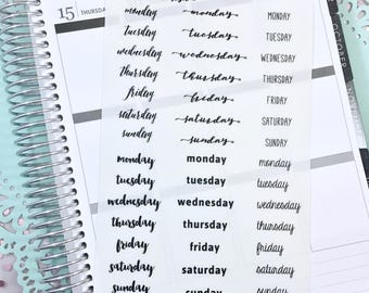 Day of the Week Bullet Journal Stickers | Transparent Days