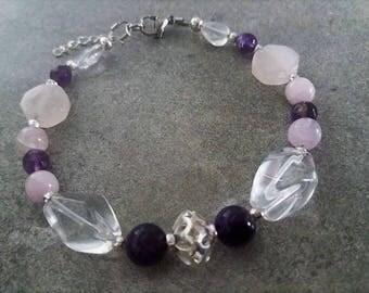ॐ Bracelet énergétisé ॐ Bien être en Améthyste, kunzite, quartz rose, cristal de roche, argent