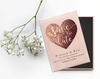 Save the Date Wedding Magnet - Rose Gold Heart with Blush Pink