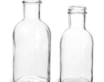 Glass Bottles, Clear Glass Stout Bottles (Bulk), Caps Included (1)