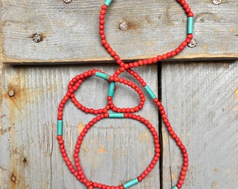 Necklace red and turquoise beads