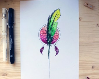 Illustration of a feather and a dream catcher