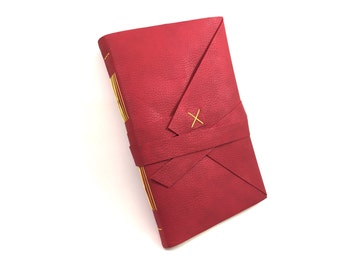 Vegan Leather Handbound Journal - Red with Yellow Thread - Large Size - Travel Journal - Sketchbook - Notebook