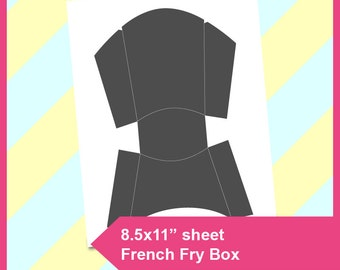 """French Fry Box Template, Instant Download, PSD, PNG and SVG Formats,  8.5x11"""" printable, Diy 136"""