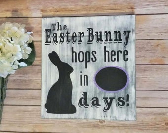 Easter Chalk Board Count Down Sign, Easter Decor, Easter Bunny Sign, Count Down Sign, Holiday Sign, Rustic Easter Sign, Easter Decorations,
